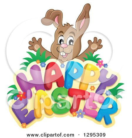 Clipart of a Brown Bunny Rabbit Popping out Behind a Happy Easter Greeting - Royalty Free Vector Illustration by visekart