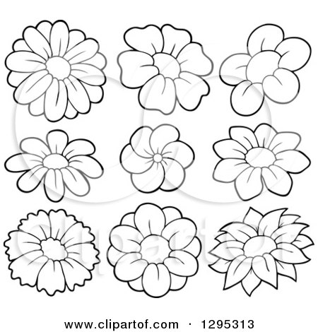 Clipart of black and white lineart spring flower blooms royalty clipart of black and white lineart spring flower blooms royalty free vector illustration by visekart mightylinksfo