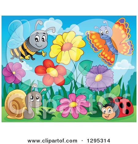 Clipart of a Spring Flower Garden with a Cartoon Happy Bee, Butterfly, Ladybug and Snail - Royalty Free Vector Illustration by visekart