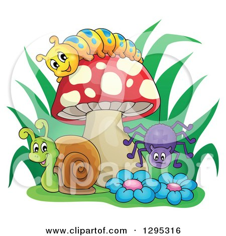 Clipart of a Happy Cartoon Caterpillar, Snail and Spider by a Mushroom and Flowers - Royalty Free Vector Illustration by visekart