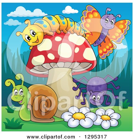 Clipart of a Happy Cartoon Caterpillar, Butterfly Snail and Spider by a Mushroom and Flowers - Royalty Free Vector Illustration by visekart