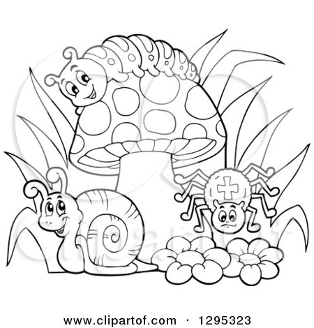 Clipart of a Happy Lineart Black and White Cartoon Caterpillar, Snail and Spider by a Mushroom and Flowers - Royalty Free Vector Illustration by visekart