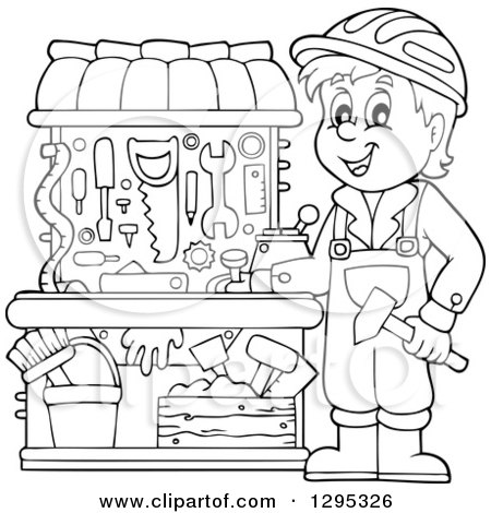 Happy Lineart Black and White Boy Playing with a Carpenter Tool Set Posters, Art Prints