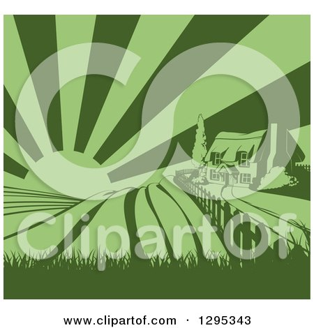 Clipart of a Green Cottage Farmhouse Atop a Hill with Fields at Sunrise - Royalty Free Vector Illustration by AtStockIllustration