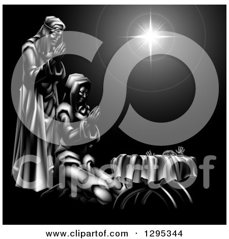 Clipart of a Grayscale 3d Mary and Joseph Praying over Baby Jesus and the Star of Bethlehem - Royalty Free Vector Illustration by AtStockIllustration