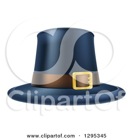 Clipart of a Black Thanksgiving Pilgrim Hat with a Belt - Royalty Free Vector Illustration by AtStockIllustration