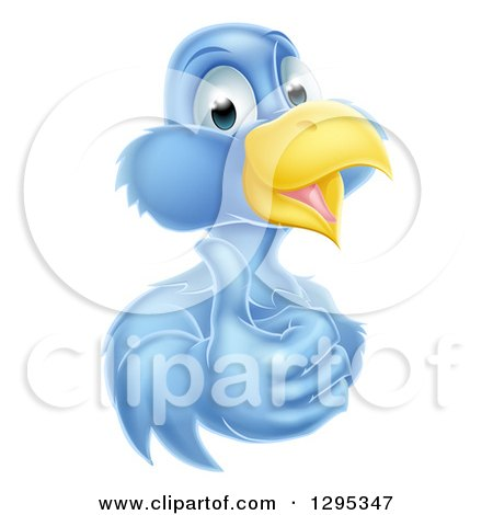 Clipart of a Pleased Blue Bird Character Giving a Thumb up - Royalty Free Vector Illustration by AtStockIllustration