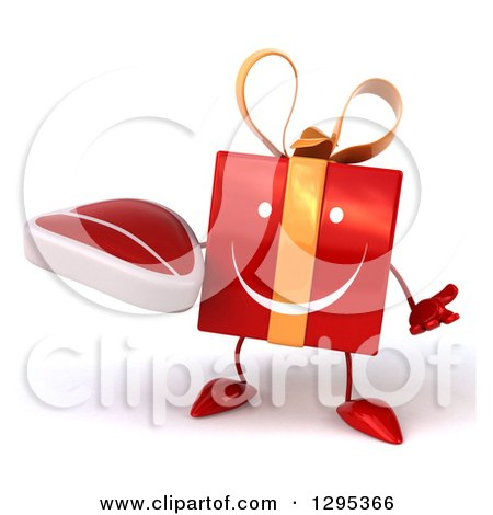Clipart of a 3d Happy Red Gift Character Shrugging and Holding a Beef Steak - Royalty Free Illustration by Julos