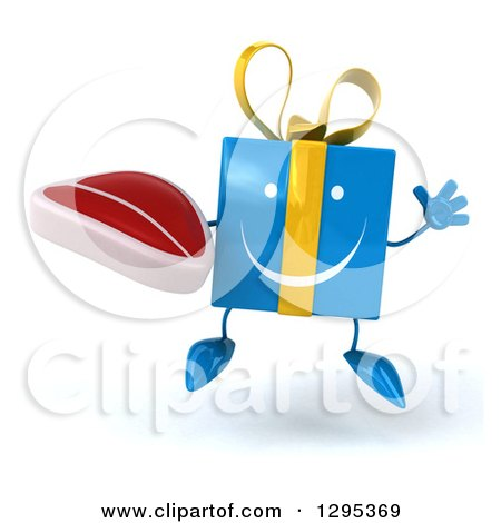 Clipart of a 3d Happy Blue Gift Character Jumping and Holding a Beef Steak - Royalty Free Illustration by Julos