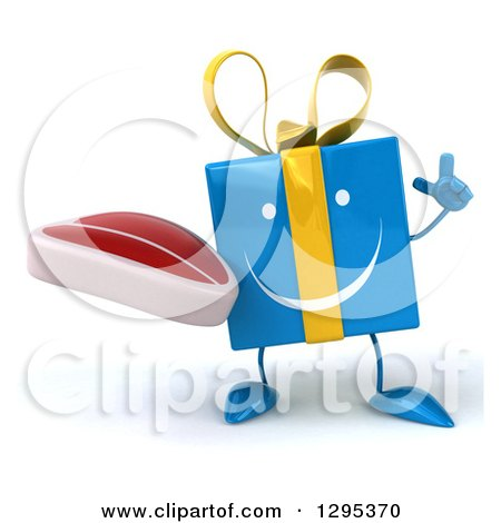Clipart of a 3d Happy Blue Gift Character Holding up a Finger and a Beef Steak - Royalty Free Illustration by Julos