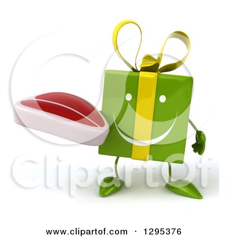 Clipart of a 3d Happy Green Gift Character Holding a Beef Steak - Royalty Free Illustration by Julos