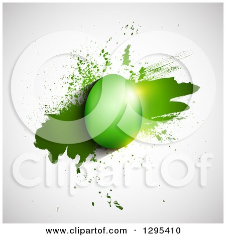 Clipart of a 3d Shiny Green Easter Egg over Grunge on Shaded White - Royalty Free Vector Illustration by KJ Pargeter