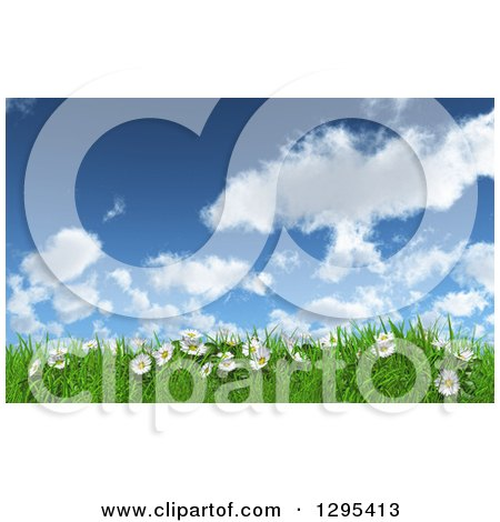 Clipart of a 3d Sunny Spring Day Background with Blue Sky, Clouds, Daisies and Grass - Royalty Free Illustration by KJ Pargeter