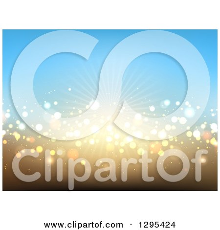 Clipart of a Gradient Blue and Gold Background of Sunshine and Lights - Royalty Free Vector Illustration by KJ Pargeter