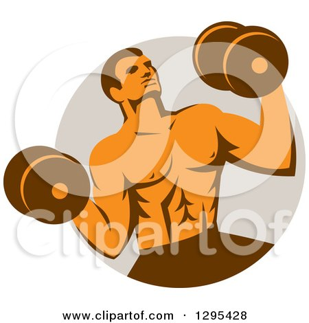 Clipart of a Retro Muscular Male Crossfit Bodybuilder with Dumbbells Emerging from a Taupe Circle - Royalty Free Vector Illustration by patrimonio