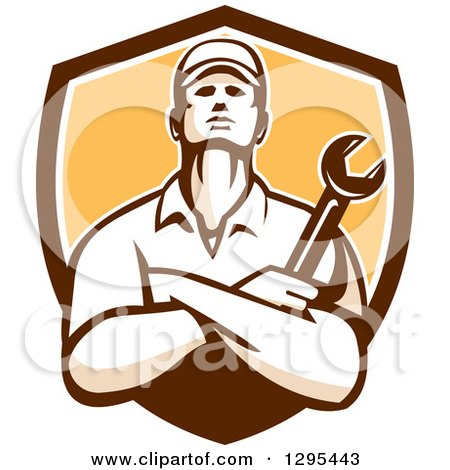 Clipart of a Retro Male Mechanic with Folded Arms, Holding a Wrench in a Brown White and Yellow Shield - Royalty Free Vector Illustration by patrimonio