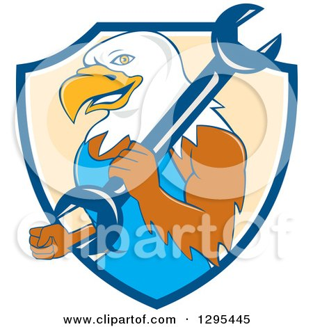 Clipart of a Cartoon Bald Eagle Mechanic with a Wrench in a Blue White and Pastel Orange Shield - Royalty Free Vector Illustration by patrimonio