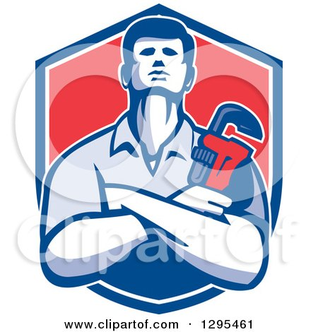 Clipart of a Retro Male Plumber with Folded Arms, Holding a Monkey Wrench in a Blue White and Red Shield - Royalty Free Vector Illustration by patrimonio