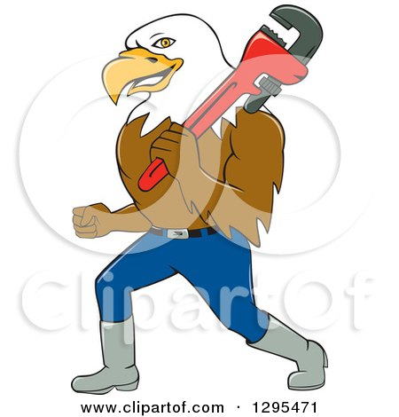 Clipart of a Cartoon Bald Eagle Plumber Walking with a Monkey Wrench - Royalty Free Vector Illustration by patrimonio
