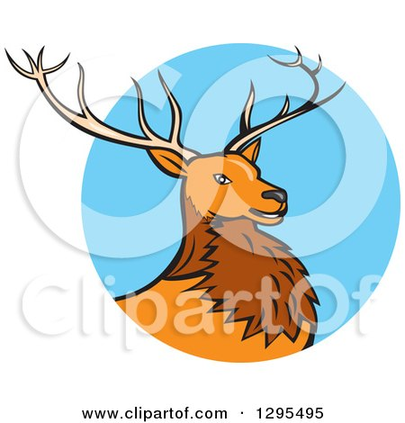 Clipart of a Cartoon Red Buck Deer Emerging from a Blue Circle - Royalty Free Vector Illustration by patrimonio