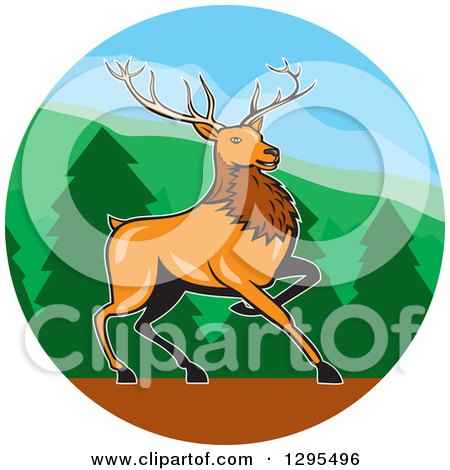 Clipart of a Cartoon Red Buck Deer in a Forest Circle - Royalty Free Vector Illustration by patrimonio
