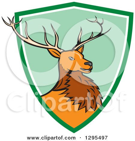 Clipart of a Cartoon Red Buck Deer Emerging from a Green and White Shield Circle - Royalty Free Vector Illustration by patrimonio