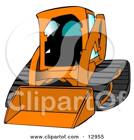 Cartoon of an Outlined Bobcat Skid Steer Loader - Royalty Free Vector