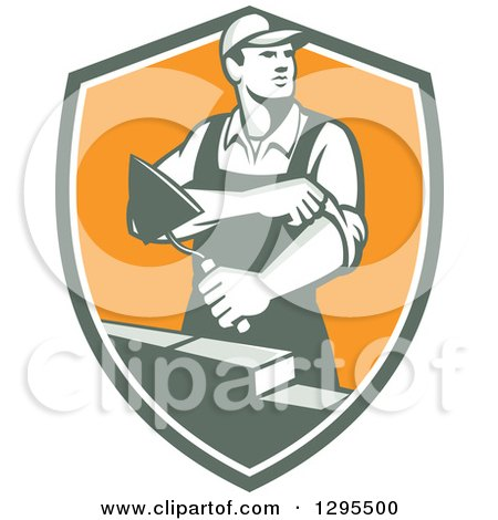 Clipart Of A Retro Male Mason Worker Rolling Up His Sleeves And Laying A Brick Wall In A Shield Royalty Free Vector Illustration