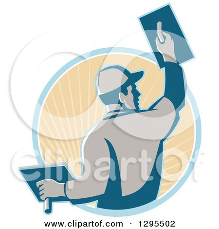 Clipart of a Retro Male Plasterer Working and Emerging from a Blue and Tan Sunshine Circle - Royalty Free Vector Illustration by patrimonio