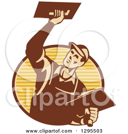 Clipart of a Retro Male Plasterer Working and Emerging from a Brown and Yellow Oval - Royalty Free Vector Illustration by patrimonio