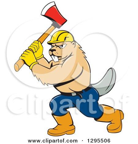 Clipart of a Retro Cartoon Lumberjack Beaver Wearing a Hard Hat ...