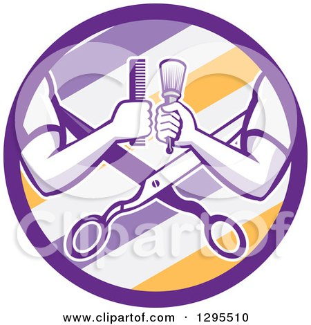 Retro Barber Arms Holding a Brush and Comb over Scissors in a Purple White and Yellow Barber Pole Circle Posters, Art Prints