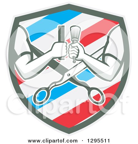 Clipart of Retro Barber Arms Holding a Brush and Comb over Scissors in a White Blue and Red Barber Pole Shield - Royalty Free Vector Illustration by patrimonio