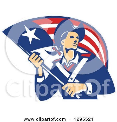 Clipart of a Retro American Patriot Minuteman Revolutionary Soldier Holding a Flag Banner - Royalty Free Vector Illustration by patrimonio