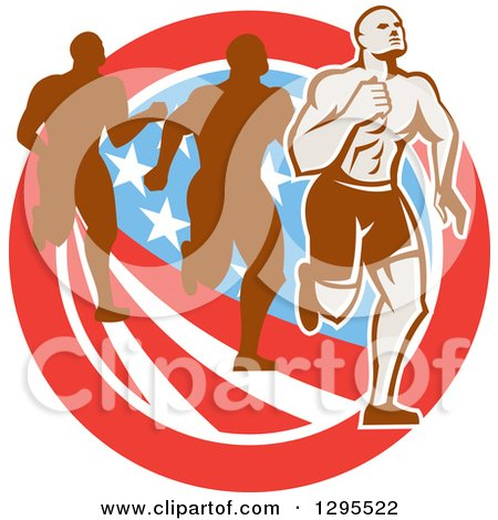 Clipart of a Retro Male Marathon Runner Ahead of Others over an American Circle - Royalty Free Vector Illustration by patrimonio