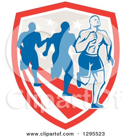 Clipart of a Retro Male Marathon Runner Ahead of Others over an American Shield - Royalty Free Vector Illustration by patrimonio