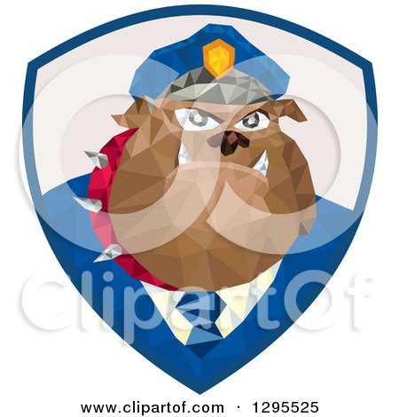 Clipart of a Retro Low Poly Police Bulldog in a Shield - Royalty Free Vector Illustration by patrimonio