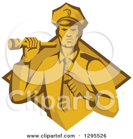 Clipart of a Retro Male Police Officer or Security Guard Shining a Flashlight and Pointing over a Yellow and Brown Diamond - Royalty Free Vector Illustration by patrimonio