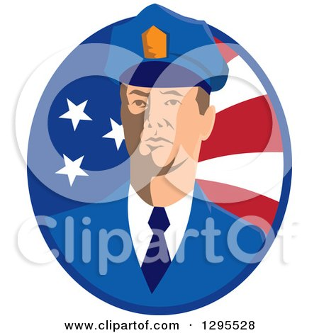 Clipart of a White Male Security Guard in an American Flag Oval - Royalty Free Vector Illustration by patrimonio