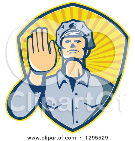 Clipart of a Retro White Male Police Officer Gesturing Stop with His Hand Inside a Ray Shield - Royalty Free Vector Illustration by patrimonio