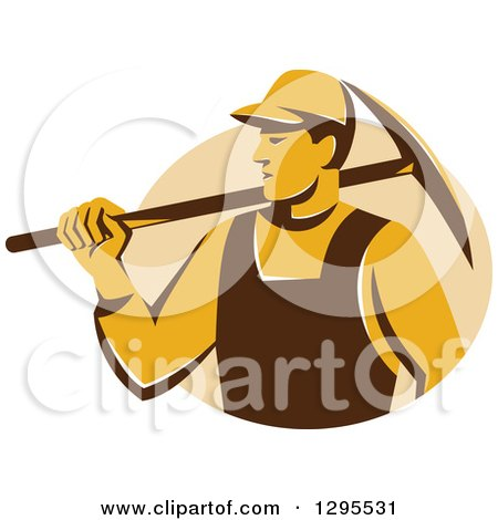 Clipart of a Retro Male Coal Miner Holding a Pickaxe in a Tan Circle - Royalty Free Vector Illustration by patrimonio