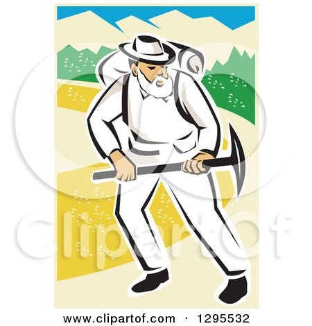 Clipart of a Retro White Male Miner Working with a Pickaxe - Royalty Free Vector Illustration by patrimonio