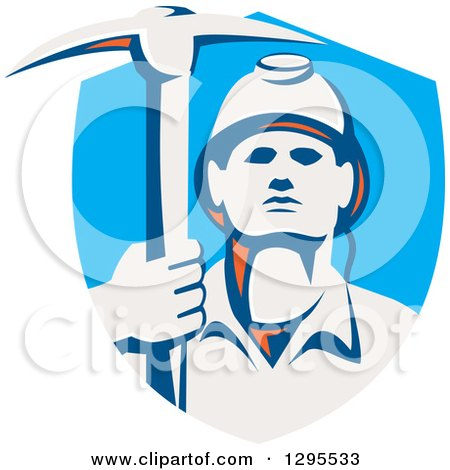 Clipart of a Retro Male Coal Miner Holding a Pickaxe in a Blue Shield - Royalty Free Vector Illustration by patrimonio