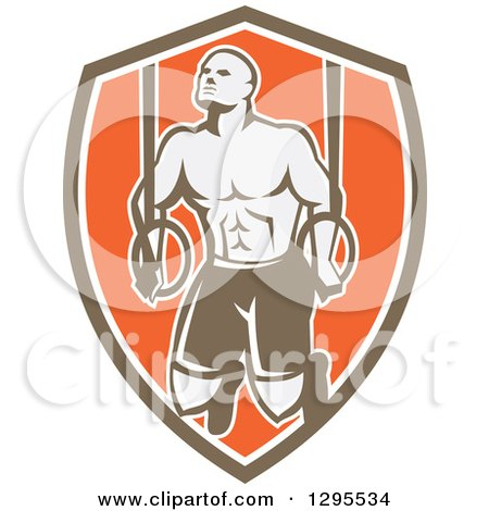 Clipart of a Retro Male Crossfit or Gymnast Athlete Doing Kipping Pull Ups on Still Rings in a Brown White and Orange Shield - Royalty Free Vector Illustration by patrimonio