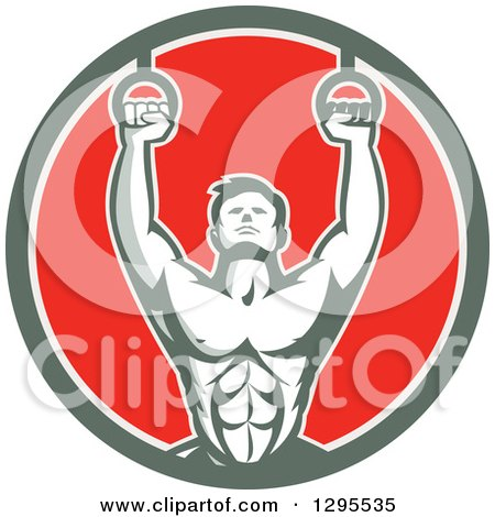 Clipart of a Retro Male Crossfit or Gymnast Athlete Doing Kipping Pull Ups on Still Rings in a Green White and Red Circle - Royalty Free Vector Illustration by patrimonio