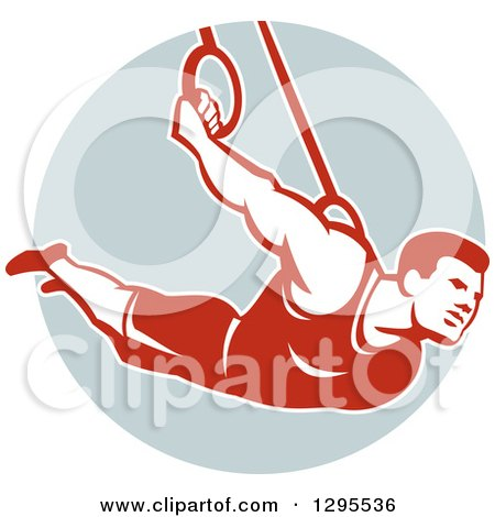 Clipart of a Retro Male Crossfit Athlete or Gymnast on Still Rings in a Circle - Royalty Free Vector Illustration by patrimonio
