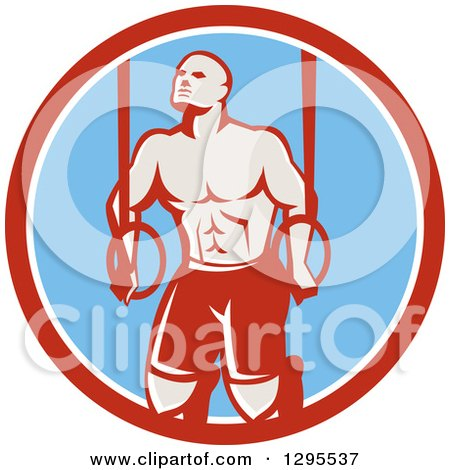 Clipart of a Retro Male Crossfit or Gymnast Athlete Doing Kipping Pull Ups on Still Rings in a Red White and Blue Circle - Royalty Free Vector Illustration by patrimonio