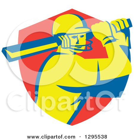 Clipart of a Retro Cricket Batsman Player Emerging from a Red Shield - Royalty Free Vector Illustration by patrimonio