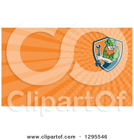 Clipart of a St Patricks Day Leprechaun Mechanic Holding a Wrench and Orange Rays Background or Business Card Design - Royalty Free Illustration by patrimonio