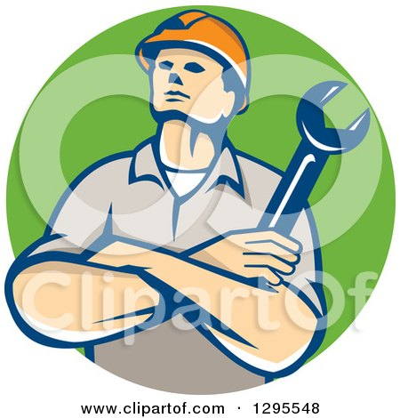 Clipart of a Retro Caucasian Male Construction or Builder Worker with Folded Arms and a Wrench in a Green Circle - Royalty Free Vector Illustration by patrimonio